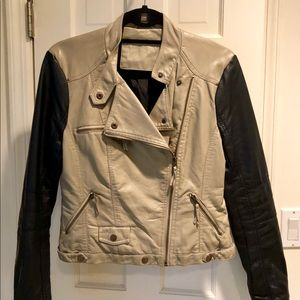 Jackets & Blazers - Faux Leather Black and Tan Moto Jacket